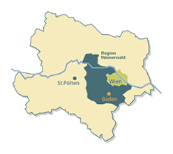 Map of lower Austria with Baden near Vienna