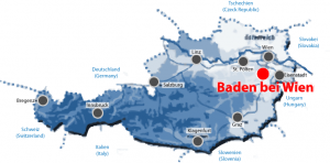 Map of Austria with Baden near Vienna