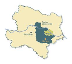 Map of lower Austria with Baden near Vienna